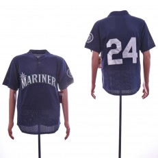 MLB Seattle Mariners #24 Ken Griffey Jr. Navy Mesh Throwback Jersey