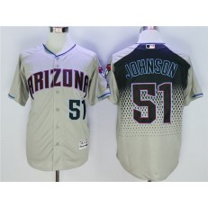 MLB Arizona Diamondbacks 51 Randy Johnson Gray Teal Flexbase Men Jersey