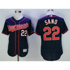 MLB Minnesota Twins 22 Miguel Sano Navy Flexbase Men Jersey