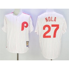 MLB Philadelphia Phillies 27 Aaron Nola White Cooperstown Collection Cool Base Men Jersey