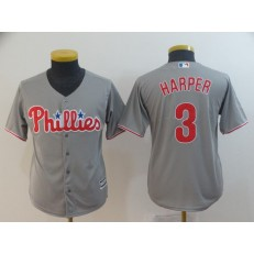 MLB Philadelphia Phillies 3 Bryce Harper Gray Youth Cool Base Jersey