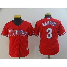 MLB Philadelphia Phillies 3 Bryce Harper Scarlet Youth Cool Base Jersey