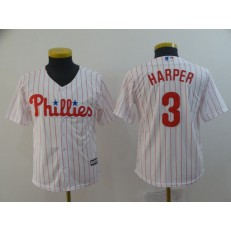 MLB Philadelphia Phillies 3 Bryce Harper White Youth Cool Base Jersey