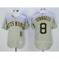 MLB Pittsburgh Pirates 8 Willie Stargell Gray Flexbase Men Jersey