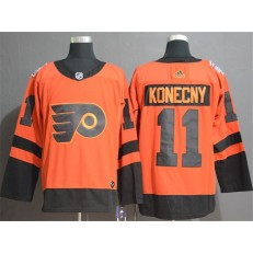 Philadelphia Flyers 11 Travis Konecny Orange 2019 NHL Stadium Series Adidas NHL Men Jersey