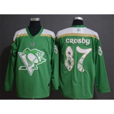 Pittsburgh Penguins 87 Sidney Crosby Green 2019 St. Patrick's Day Adidas NHL Men Jersey