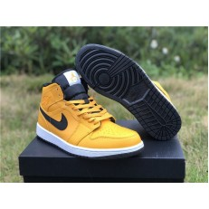 AIR JORDAN 1 MID TAXI YELLOW BLACK WHITE 554724-700