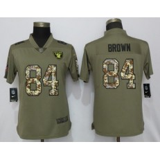 Women Nike Oakland Raiders #84 Antonio Brown Olive Camo Salute to Service Limited Jersey