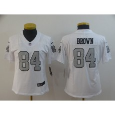 Women Nike Oakland Raiders #84 Antonio Brown White Color Rush Limited Jersey