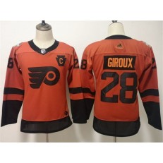 Philadelphia Flyers #28 Claude Giroux Orange Women 2019 NHL Stadium Series Adidas Jersey