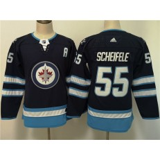 Winnipeg Jets #55 Mark Scheifele Navy Women Adidas Jersey
