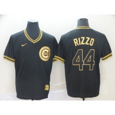 MLB Chicago Cubs #44 Anthony Rizzo Black Gold Nike Cooperstown Collection Legend V Neck Men Jersey