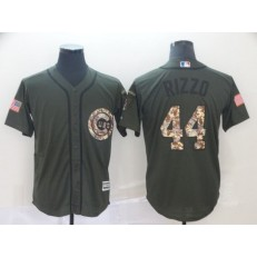 MLB Chicago Cubs #44 Anthony Rizzo Olive Camo Salute To Service Cool Base Men Jersey