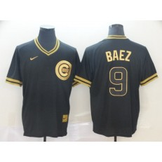 MLB Chicago Cubs #9 Javier Baez Black Gold Nike Cooperstown Collection Legend V Neck Men Jersey
