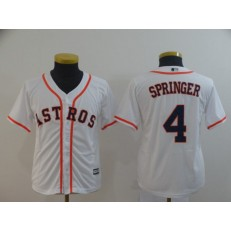 MLB Houston Astros #4 George Springer White Youth Cool Base Jersey