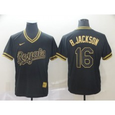 MLB Kansas City Royals #16 Bo Jackson Black Gold Nike Cooperstown Collection Legend V Neck Men Jersey