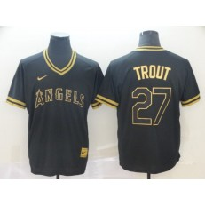 MLB Los Angeles Angels #27 Mike Trout Black Gold Nike Cooperstown Collection Legend V Neck Men Jersey