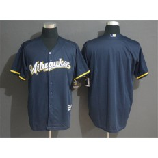 MLB Milwaukee Brewers Blank Navy Cool Base Men Jersey