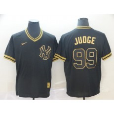 MLB New York Yankees #99 Aaron Judge Black Gold Nike Cooperstown Collection Legend V Neck Men Jersey