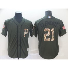 MLB Pittsburgh Pirates #21 Roberto Clemente Olive Camo Salute To Service Cool Base Men Jersey