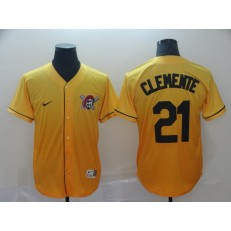 MLB Pittsburgh Pirates #21 Roberto Clemente Yellow Drift Fashion Men Jersey