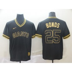 MLB San Francisco Giants #25 Barry Bonds Black Gold Nike Cooperstown Collection Legend V Neck Men Jersey