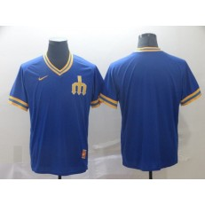 MLB Seattle Mariners Blank Blue Throwback Men Jersey
