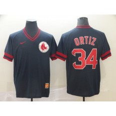 MLB Boston Red Sox #34 David Ortiz Black Throwback Men Jersey