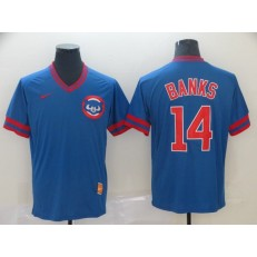 MLB Chicago Cubs #14 Ernie Banks Blue Throwback Men Jersey