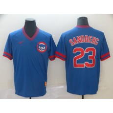 MLB Chicago Cubs #23 Ryne Sandberg Blue Throwback Men Jersey
