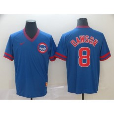 MLB Chicago Cubs #8 Andre Dawson Blue Throwback Men Jersey