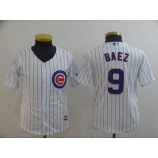 MLB Chicago Cubs #9 Javier Baez White Youth Cool Base Jersey
