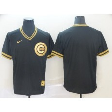 MLB Chicago Cubs Blank Black Gold Nike Cooperstown Collection Legend V Neck Men Jersey