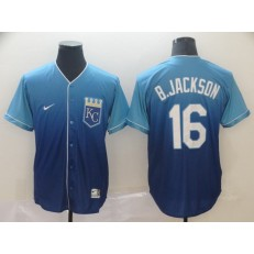 MLB Kansas City Royals #16 Bo Jackson Blue Drift Fashion Men Jersey