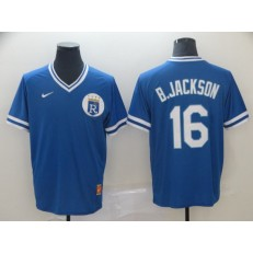 MLB Kansas City Royals #16 Bo Jackson Blue Throwback Men Jersey