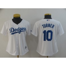 MLB Los Angeles Dodgers #10 Justin Turner White Women Cool Base Jersey