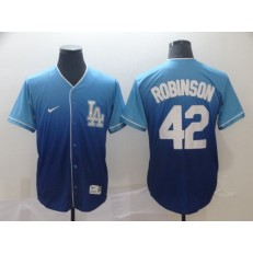 MLB Los Angeles Dodgers #42 Jackie Robinson Blue Drift Fashion Men Jersey