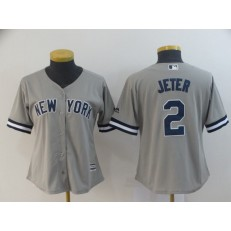 MLB New York Yankees #2 Derek Jeter Gray Women Cool Base Jersey