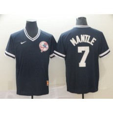 MLB New York Yankees #7 Mickey Mantle Blue Throwback Men Jersey