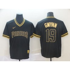MLB San Diego Padres #19 Tony Gwynn Black Gold Nike Cooperstown Collection Legend V Neck Men Jersey