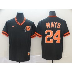 MLB San Francisco Giants #24 Willie Mays Black Throwback Men Jersey