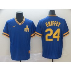 MLB Seattle Mariners #24 Ken Griffey Jr. Blue Throwback Men Jersey