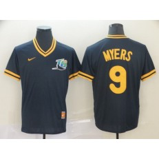 MLB Tampa Bay Rays #9 Wil Myers Navy Throwback Men Jersey