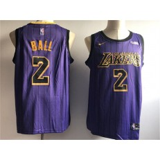 Los Angeles Lakers 2 Lonzo Ball Purple 2018-19 City Edition Nike Swingman Jersey