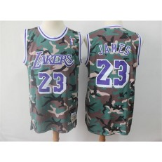 Los Angeles Lakers 23 Lebron James Camo 2018-19 Hardwood Classics Jersey