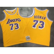 Los Angeles Lakers 73 Dennis Rodman Yellow 1998-99 Hardwood Classics Mesh Jersey