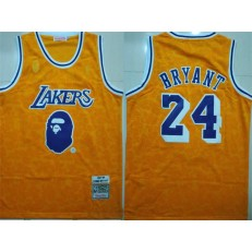 Los Angeles Lakers Bape 24 Kobe Bryant Yellow 1997-98 Hardwood Classics Jersey