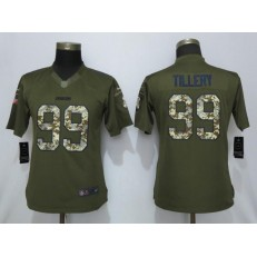 Women Nike Los Angeles Chargers 99 Jerry Tillery Olive Camo Salute To Service Limited Jersey