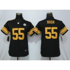 Women Nike Pittsburgh Steelers 55 Devin Bush Black 2019 NFL Draft First Round Pick Color Rush Limited Jersey
