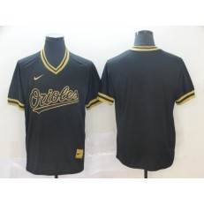 MLB Baltimore Orioles Blank Black Gold Nike Cooperstown Collection Legend V Neck Men Jersey